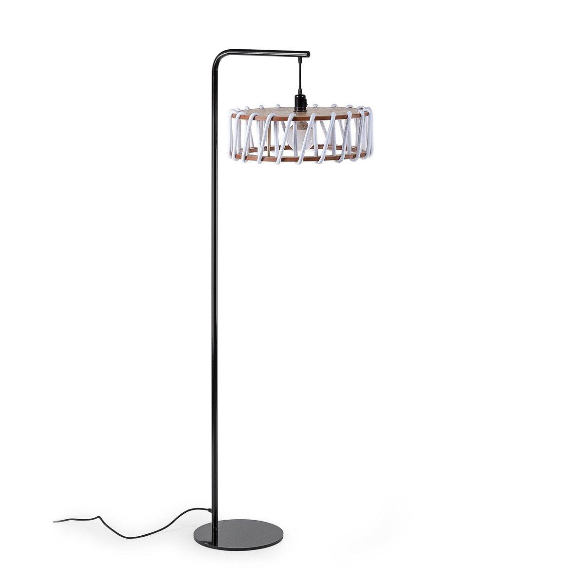 lampadaire macaron noir avec grand abat jour blanc par. Black Bedroom Furniture Sets. Home Design Ideas