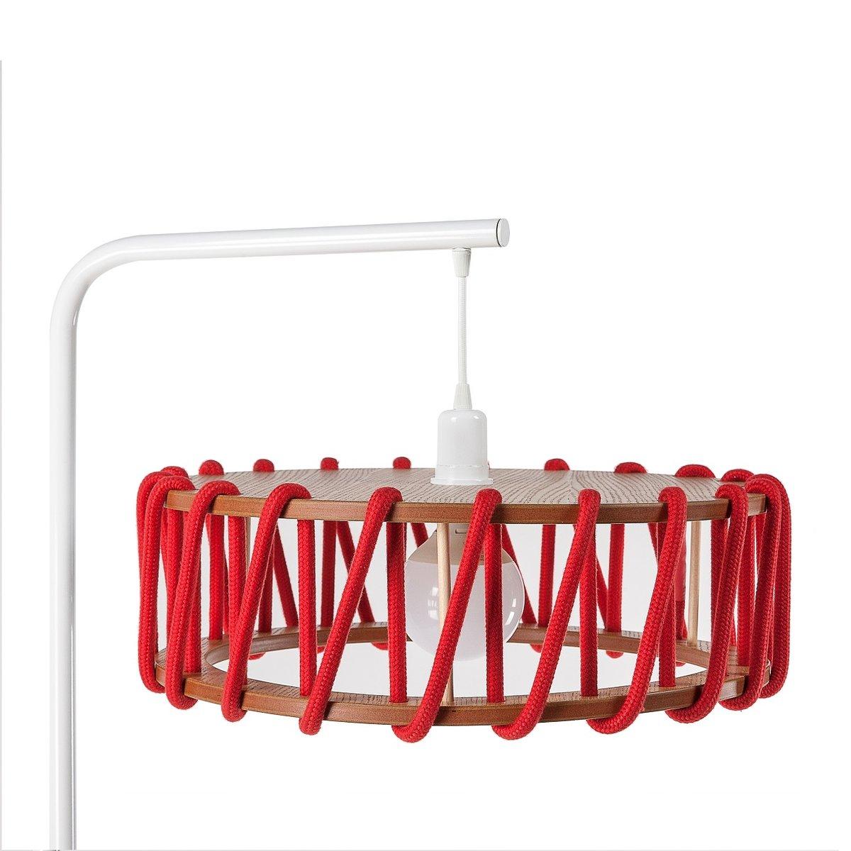 wei e macaron stehlampe mit gro em roten schirm von silvia ce al f r emko bei pamono kaufen. Black Bedroom Furniture Sets. Home Design Ideas