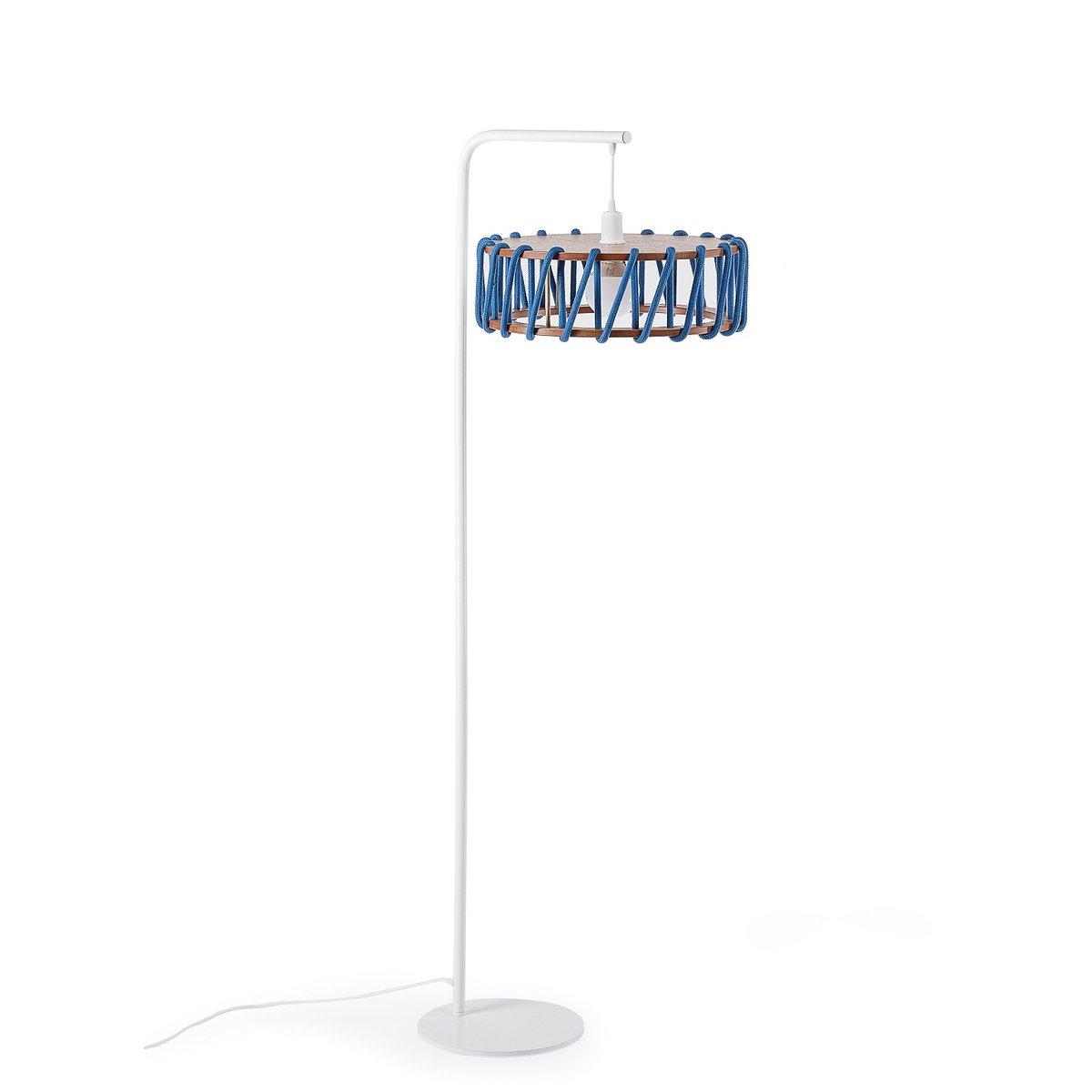 wei e macaron stehlampe mit gro em blauen schirm von silvia ce al f r emko bei pamono kaufen. Black Bedroom Furniture Sets. Home Design Ideas