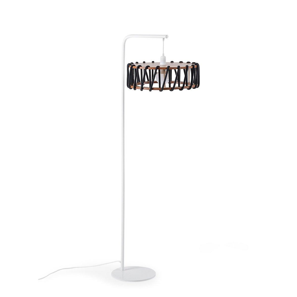 wei e macaron stehlampe mit gro em schwarzen schirm von silvia ce al f r emko bei pamono kaufen. Black Bedroom Furniture Sets. Home Design Ideas