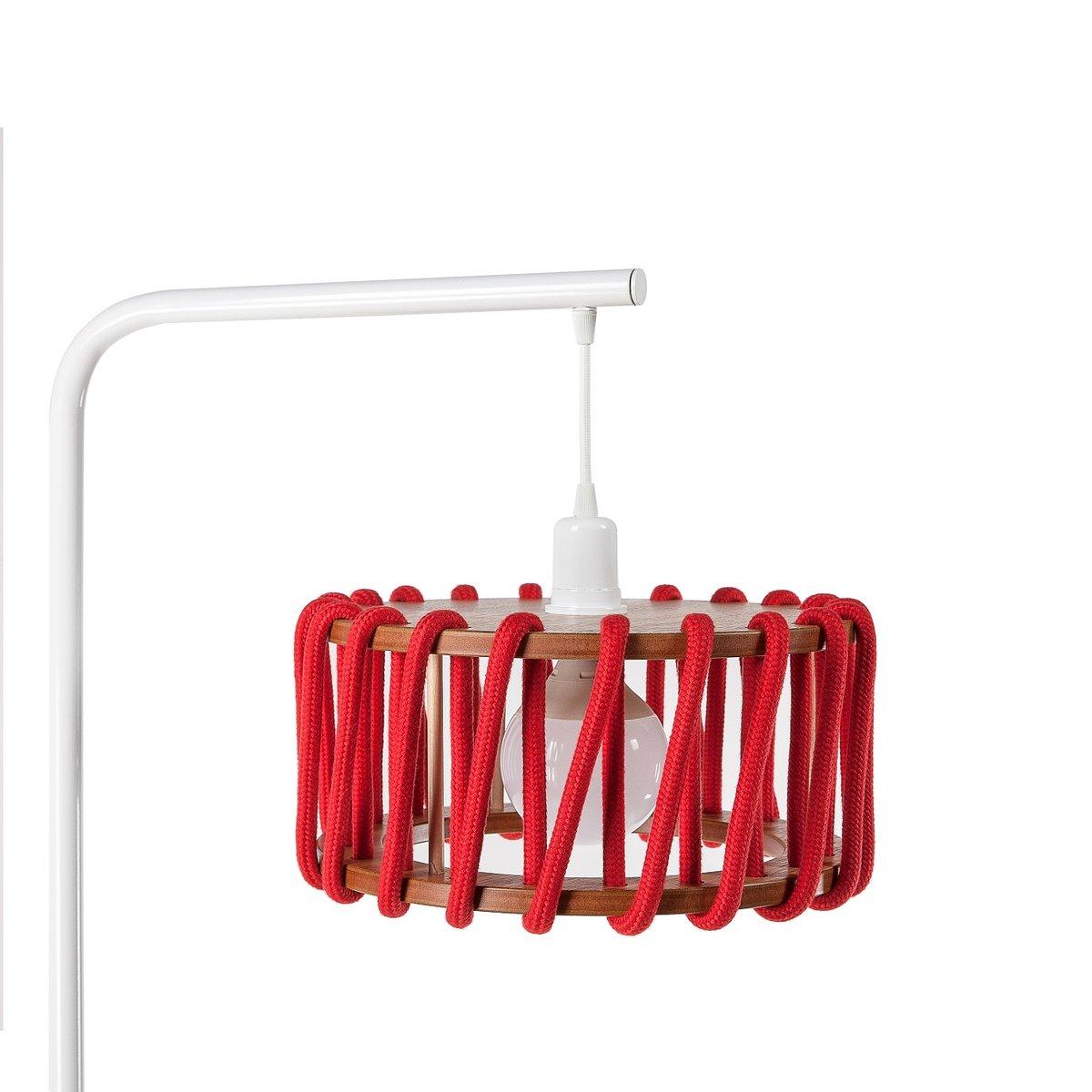 wei e macaron stehlampe mit kleinem roten schirm von silvia ce al f r emko bei pamono kaufen. Black Bedroom Furniture Sets. Home Design Ideas