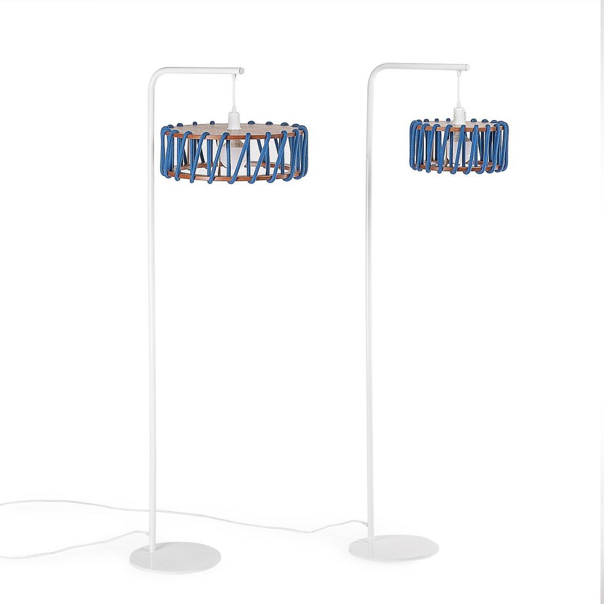wei e macaron stehlampe mit kleinem blauen schirm von silvia ce al f r emko bei pamono kaufen. Black Bedroom Furniture Sets. Home Design Ideas