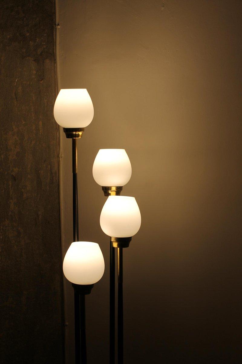 Metall & Messing Stehlampe mit 4 Leuchten, 1950er