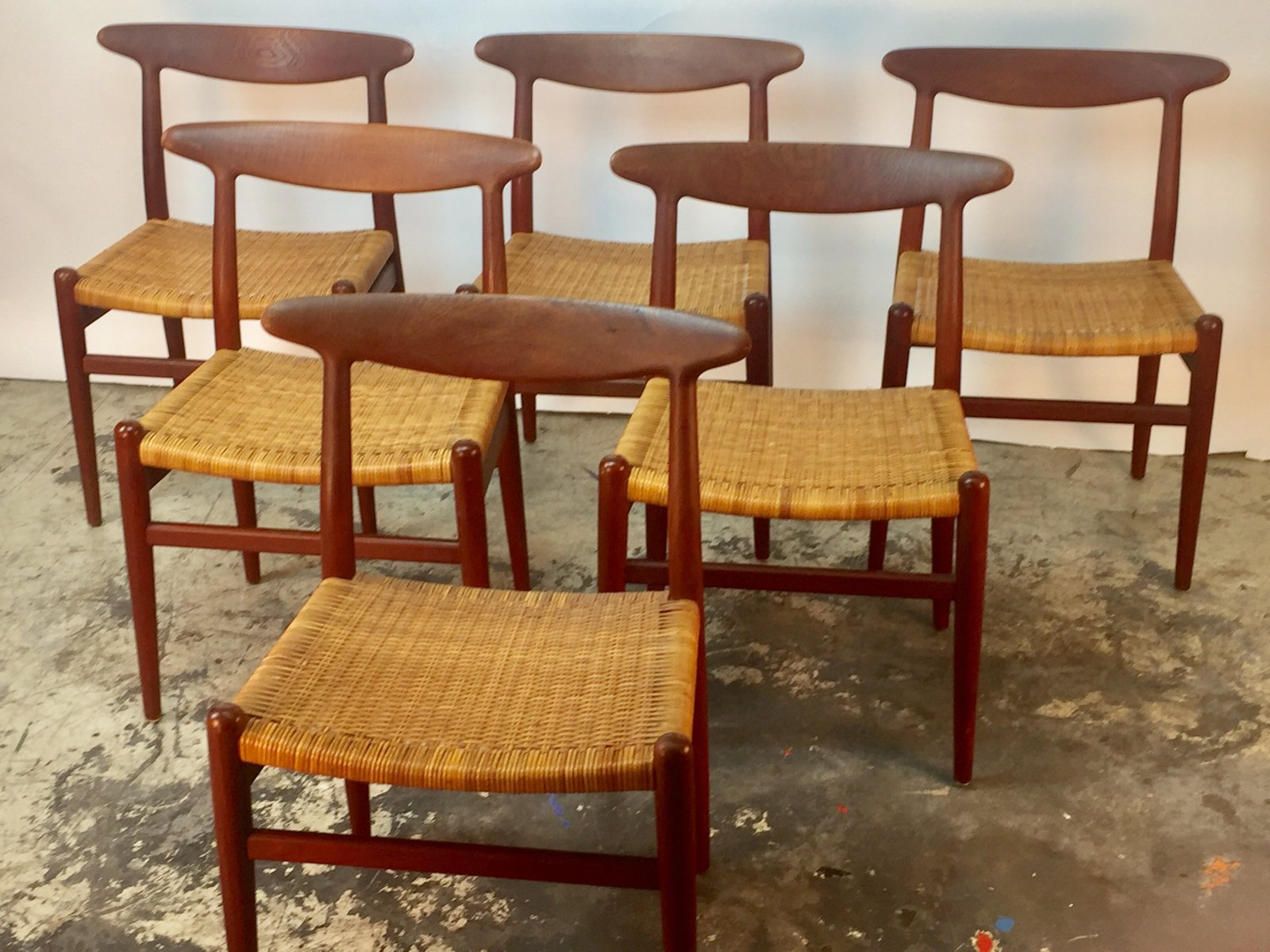 W2 teak cane dining chairs by hans j wegner for c m madsen 1950s set of 6