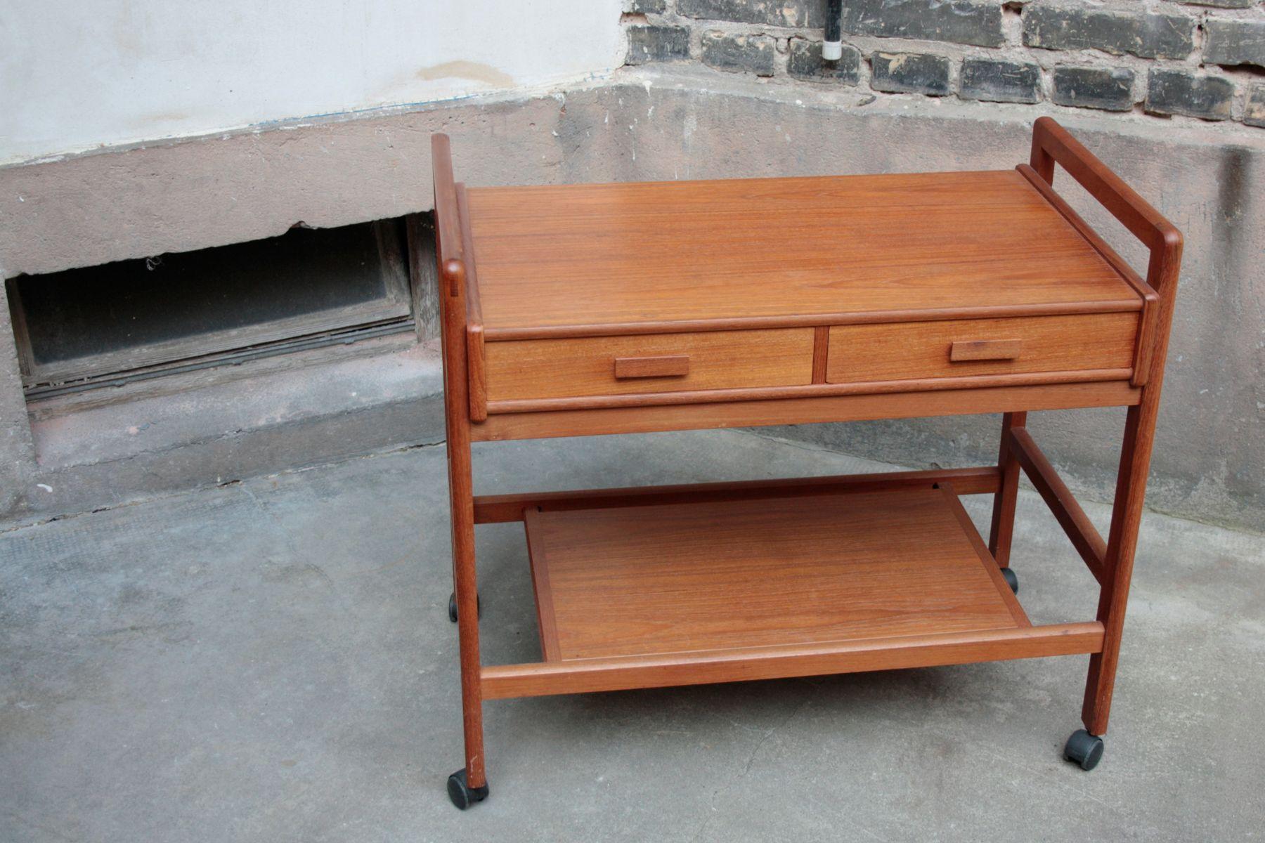 vintage teak servierwagen mit 2 schubladen bei pamono kaufen. Black Bedroom Furniture Sets. Home Design Ideas