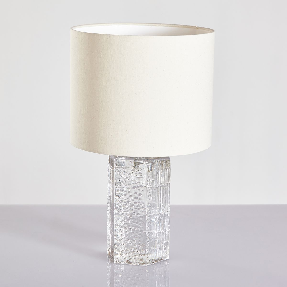 Vintage Glass Base Table Lamp, 1970s