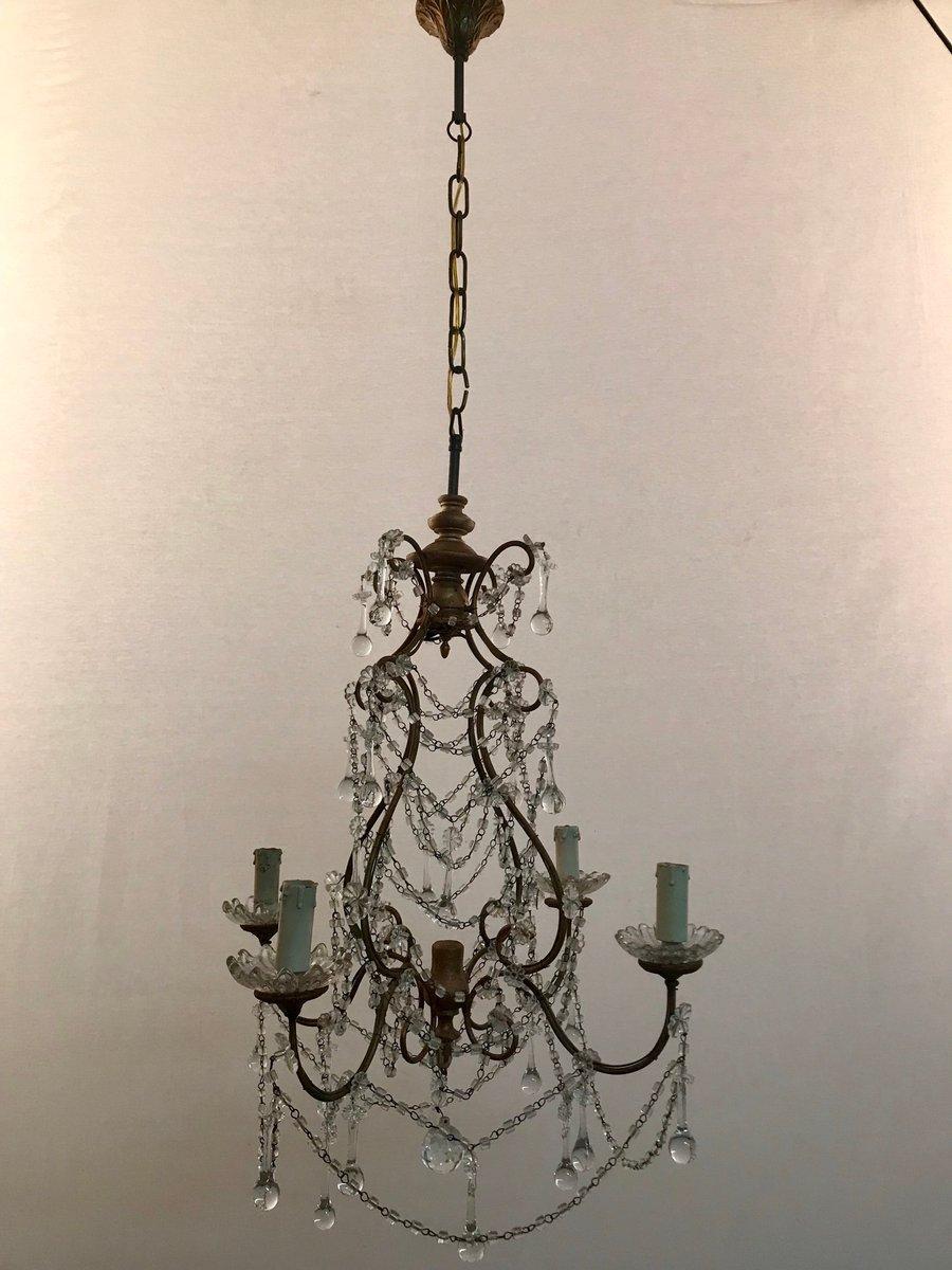 Vintage Kristallperlen Kronleuchter mit Murano Glas Tropfen