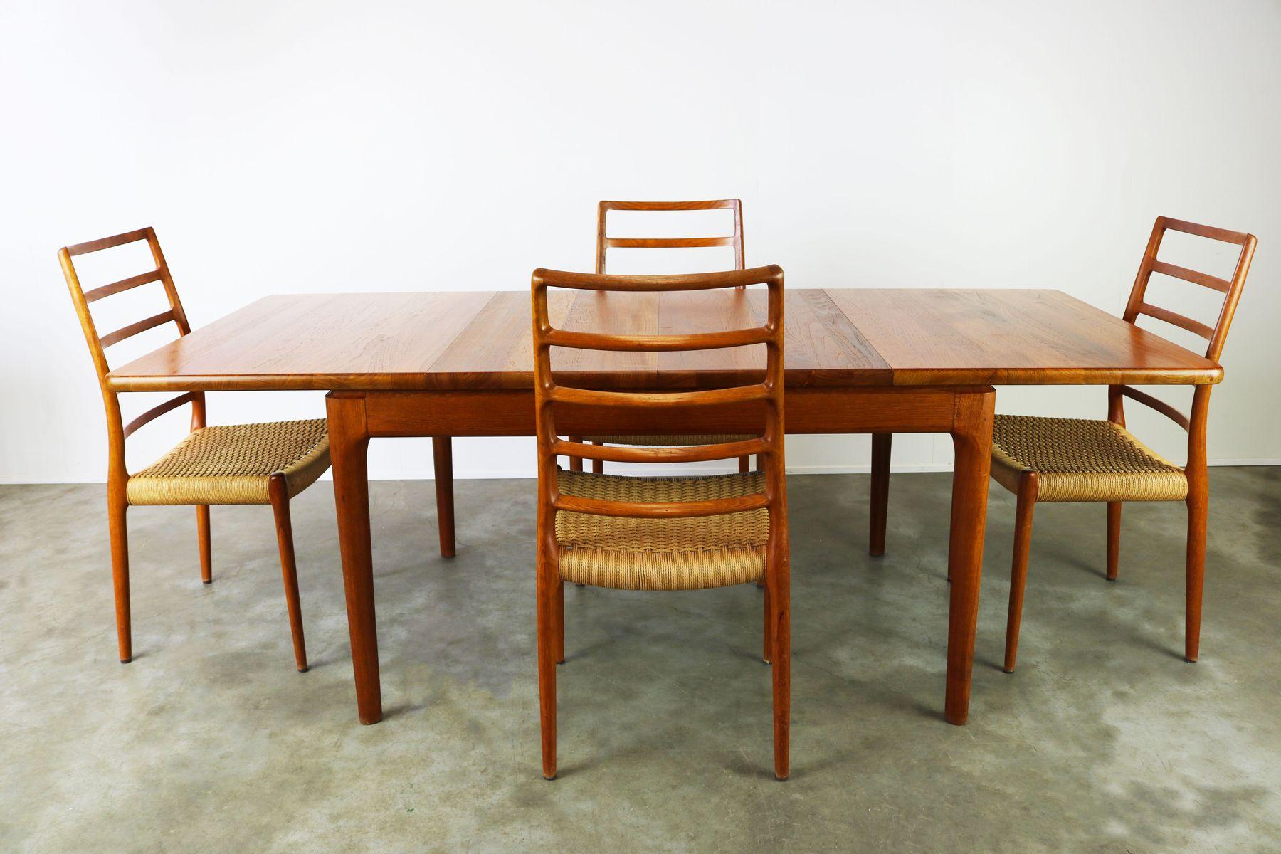 modell 82 st hle von niels otto m ller mit esstisch von glostrup 1950er bei pamono kaufen. Black Bedroom Furniture Sets. Home Design Ideas