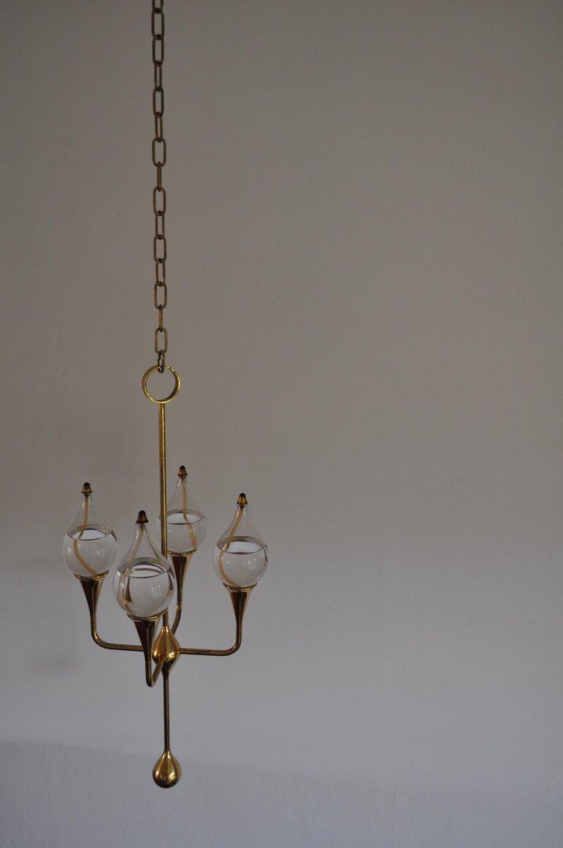Vintage Clear Drops Öl Lampen Kronleuchter Von Freddie Andersen