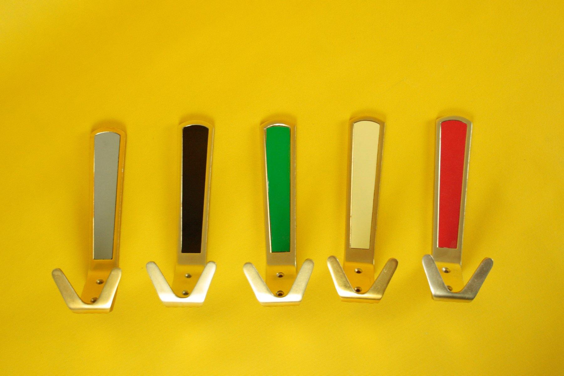 Anodized Aluminum Coat Hooks, 1960s, Set of 5 for sale at Pamono