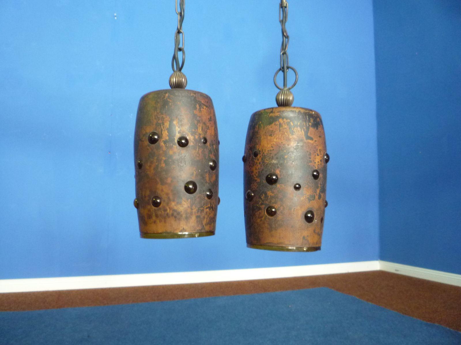 Brutalistische Kupfer Deckenlampen von Nanny Still für Raak, 1960er, 2...