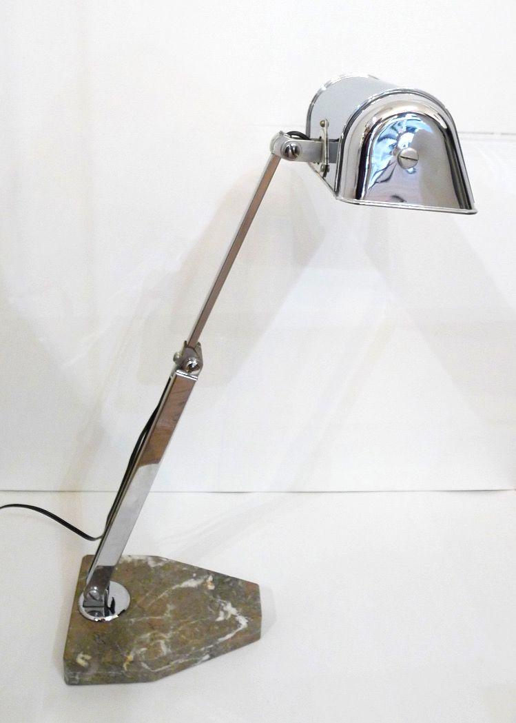 lampe de bureau art d co en m tal chrom avec pied en marbre 1930s en vente sur pamono. Black Bedroom Furniture Sets. Home Design Ideas