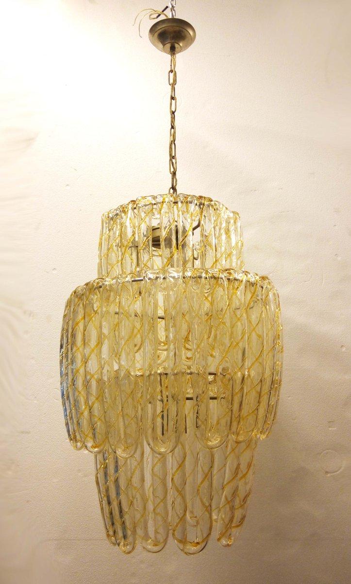 Kronleuchter aus vergoldetem Eisen & Buntglas von Mazzega, 1970er