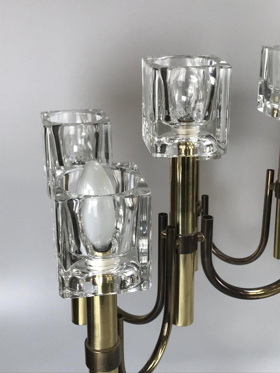 moderner vintage eisw rfel kronleuchter aus messing glas bei pamono kaufen. Black Bedroom Furniture Sets. Home Design Ideas