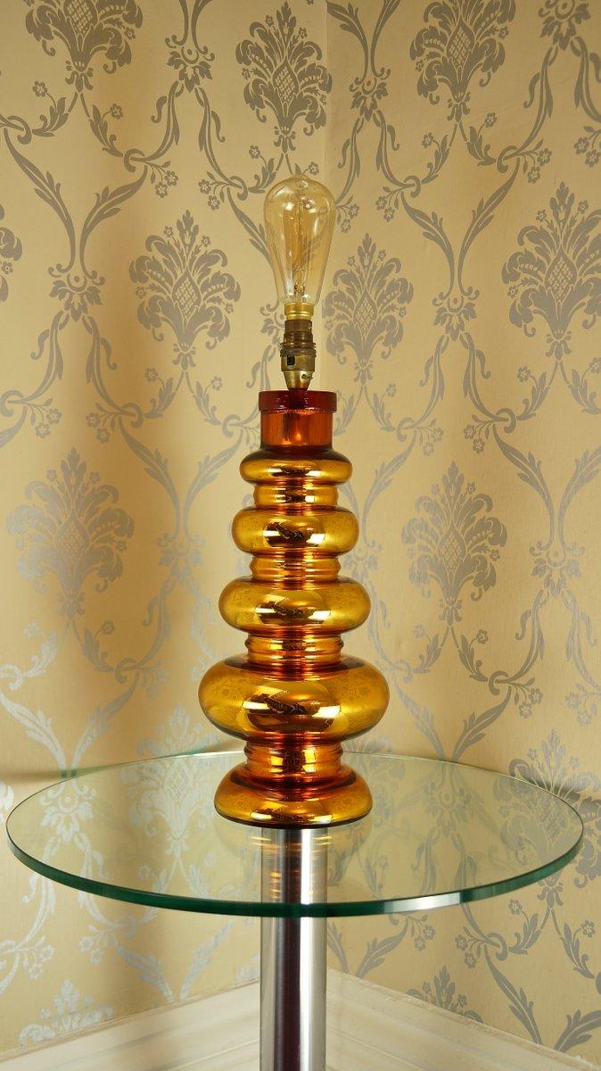 Goldene Silberglas Tischlampe von Johansfors Glasbruk, 1960er
