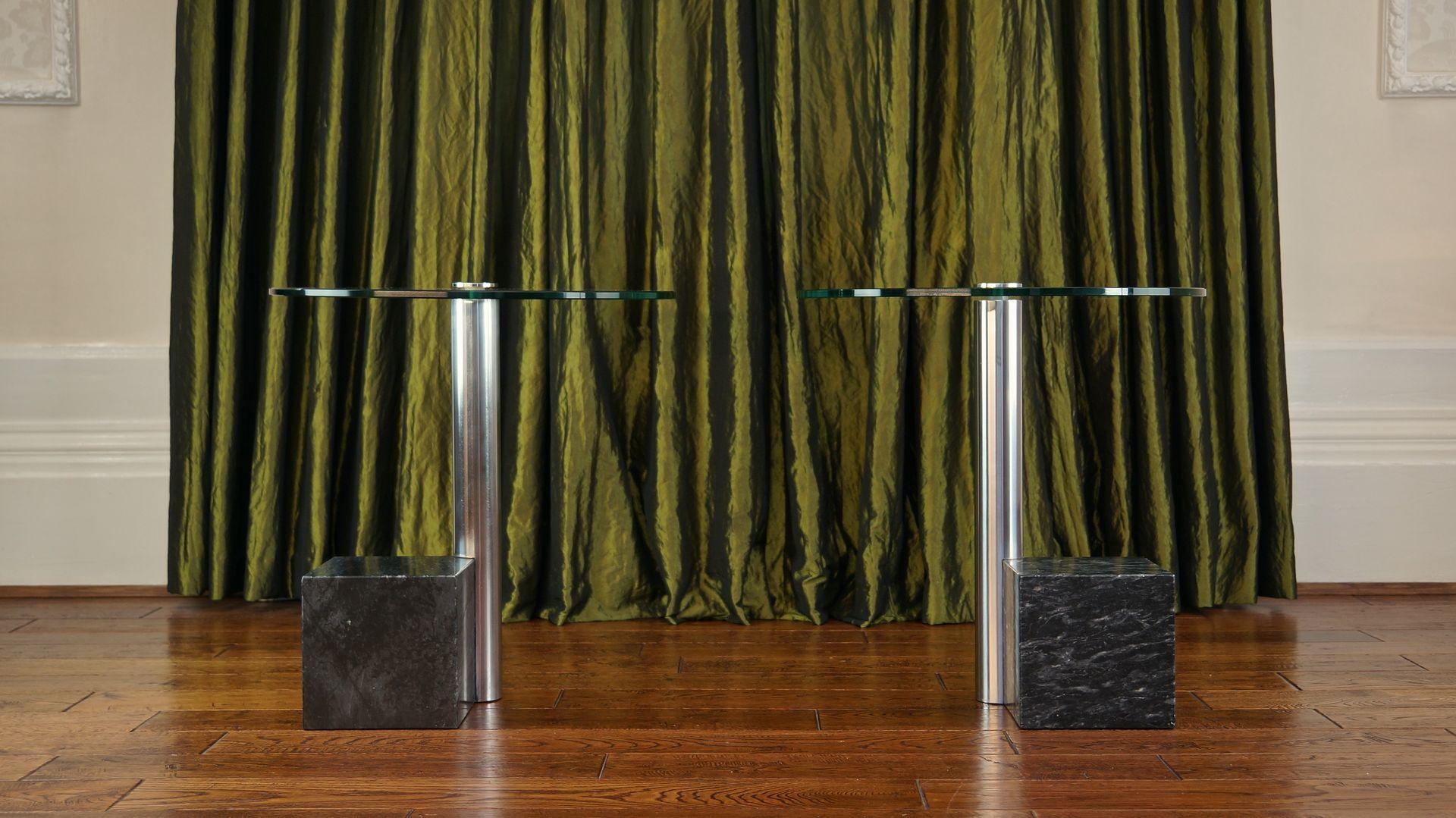 marmor glas beistelltische von hank kwint f r metaform 1980er 2er set bei pamono kaufen. Black Bedroom Furniture Sets. Home Design Ideas
