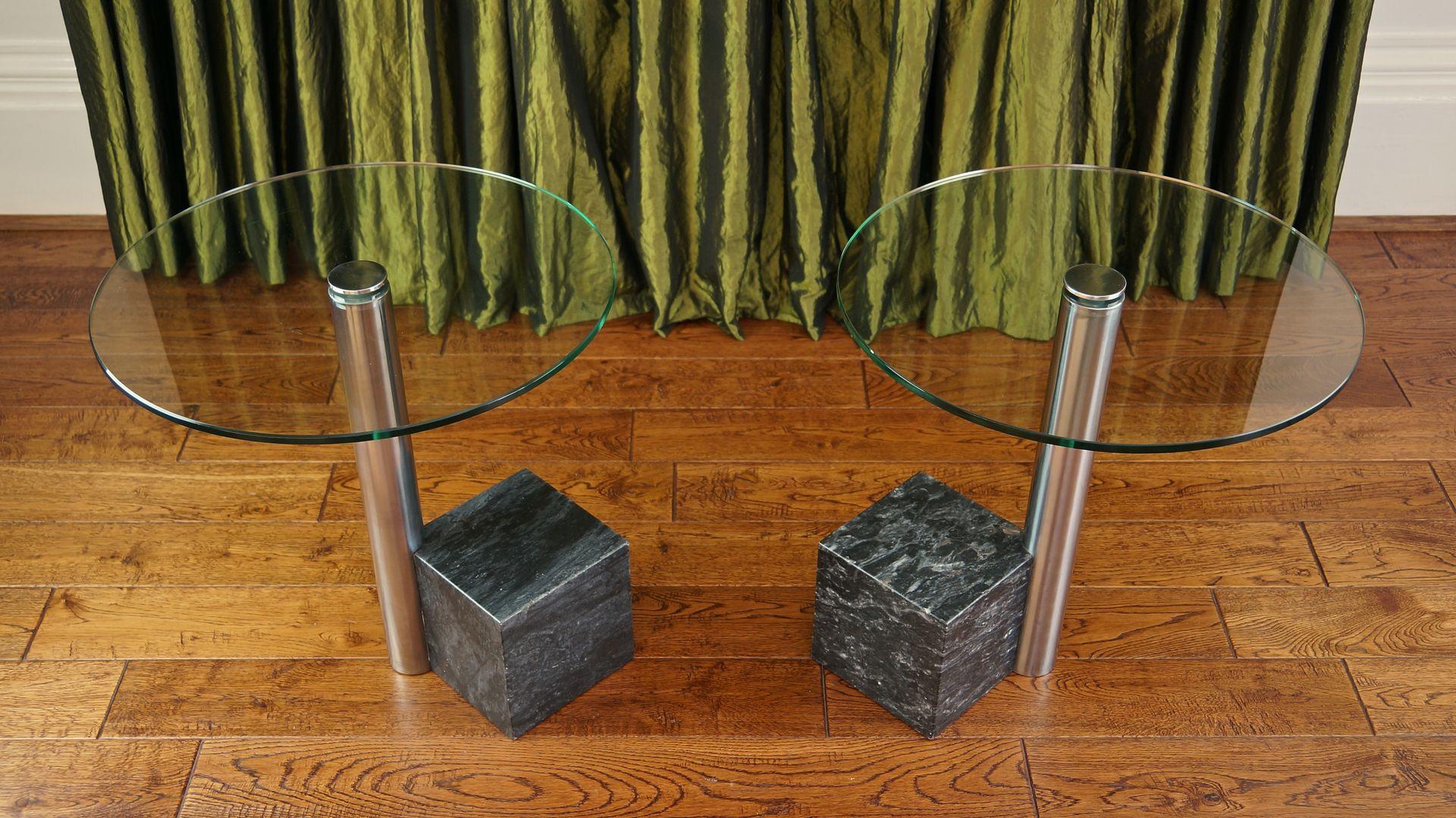 Tables d Appoint en Marbre et Verre par Hank Kwint pour Metaform, 1980s,  Set de 2 77be103261d6