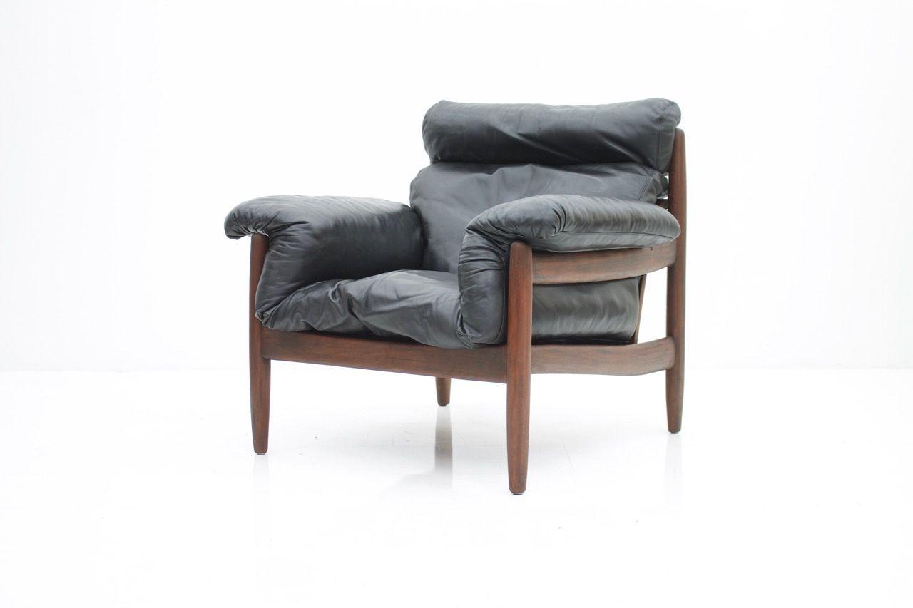 Brasilianischer Sessel aus Mahagoni & schwarzem Leder, 1960er