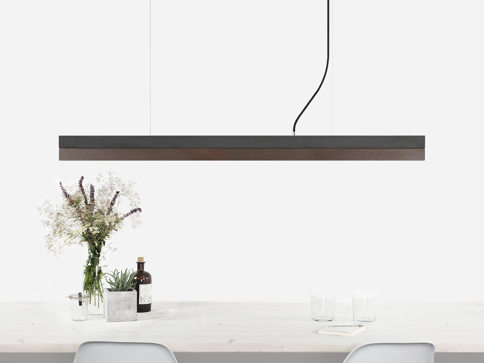 [C1] Hängelampe aus dunklem Beton & Corten Stahl von Stefan Gant für G...