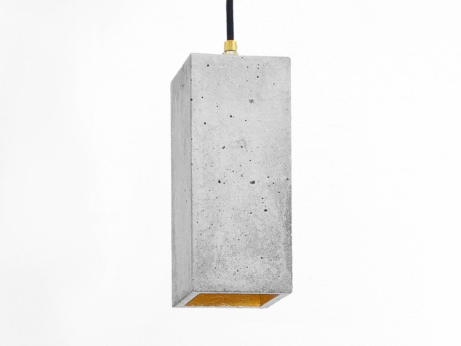 Rechteckige [B2] Hängelampe aus Beton & Gold von Stefan Gant für GANTl...
