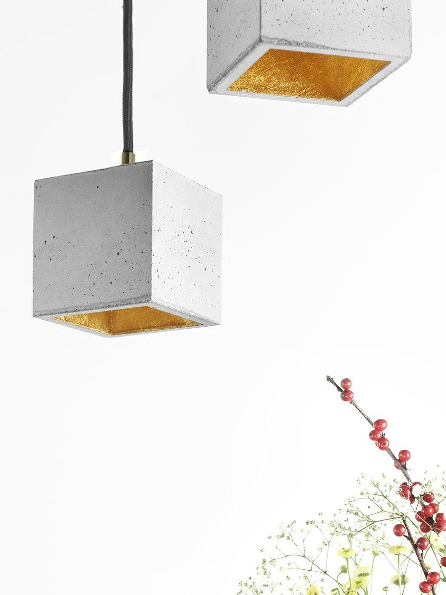[B6] Würfelform Hängelampe aus hellem Beton & Gold von Stefan Gant für...
