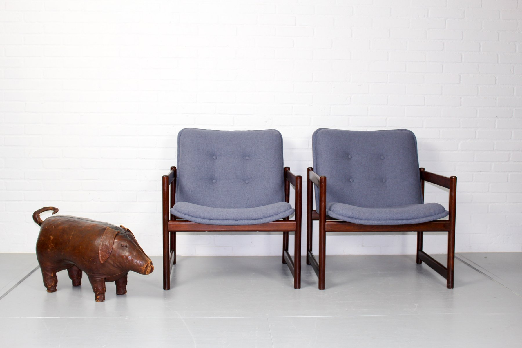 Vintage Lounge Chairs With Rosewood Cube Frames From Artifort, Set Of 2