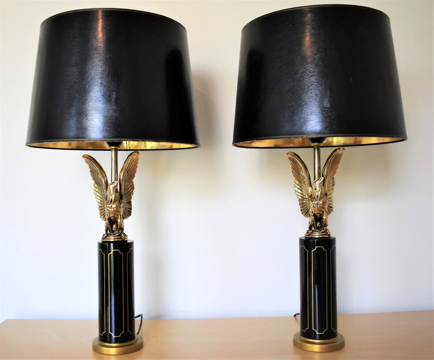 Vintage Hollywood Regency Adler Tischlampen, 2er Set