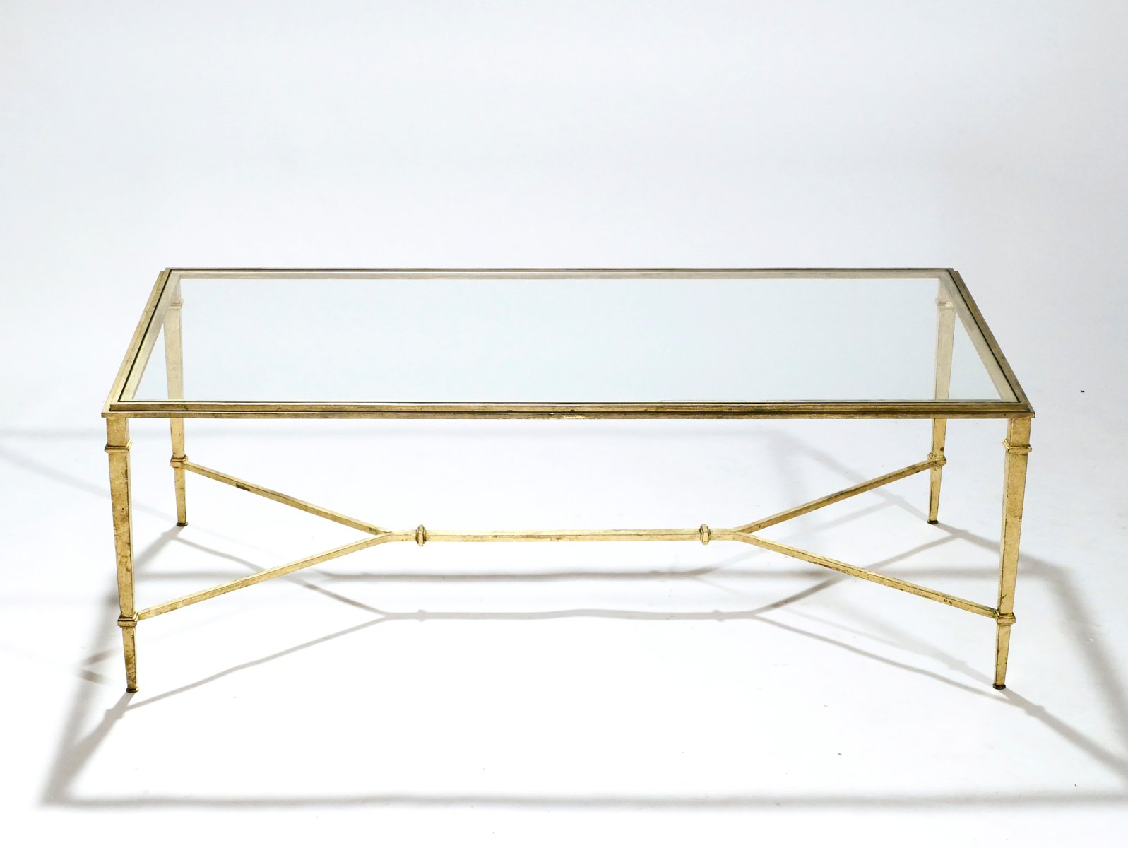 Golden wrought iron coffee table by robert thibier 1960s
