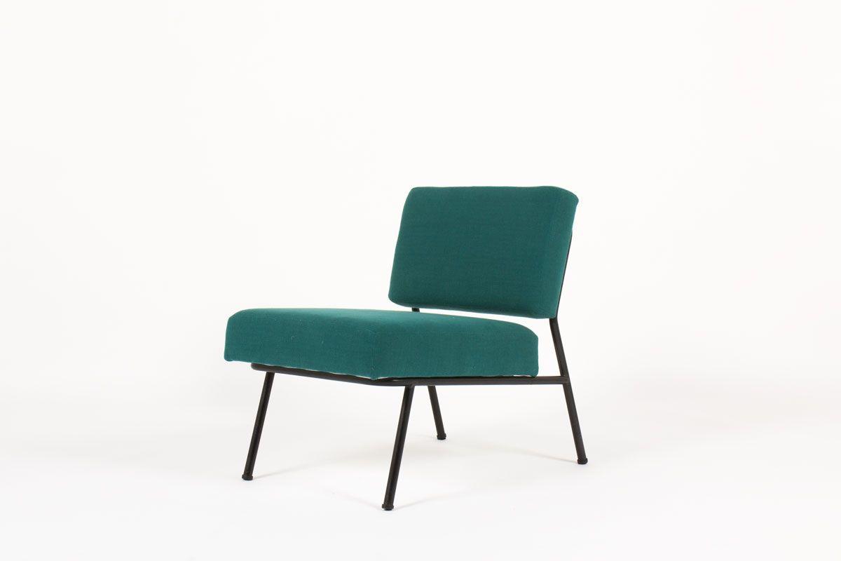 Sedie Blu Petrolio : Sedia bassa in tessuto di lino blu di airborne anni in