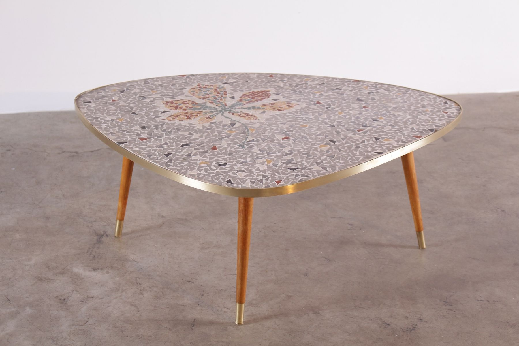Mid Century Tripod Mosaic Coffee Table With Flower Pattern