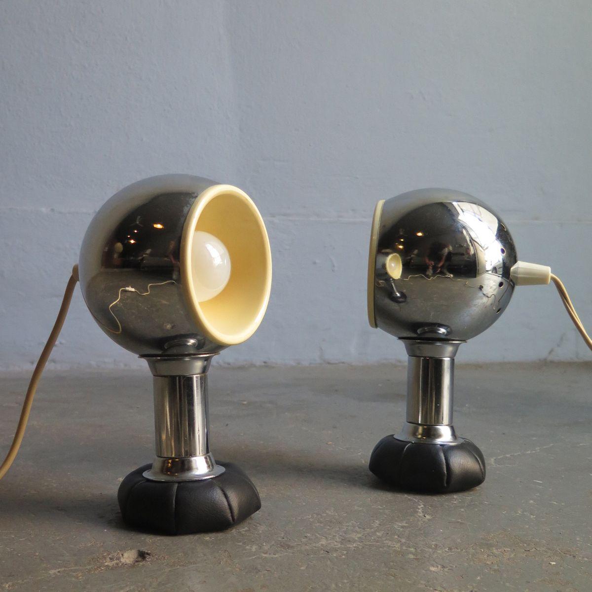 Chrom Tischlampen mit schwarzen Ledersäckchen, 1970er, 2er Set