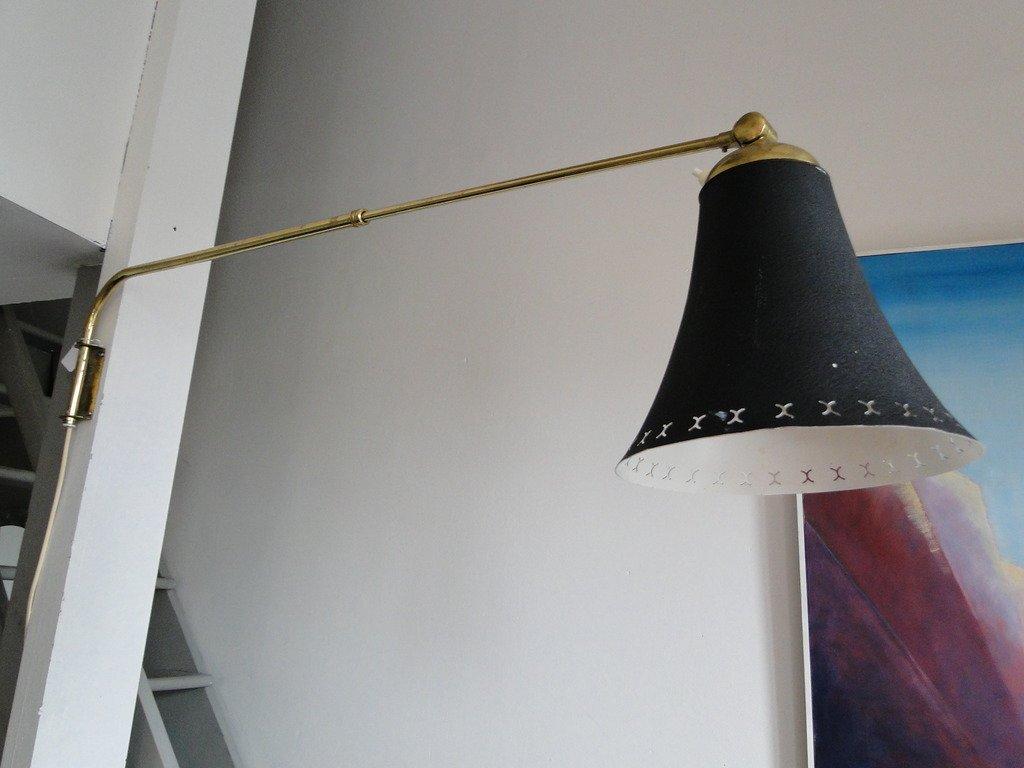 Lampada da parete telescopica in ottone con paralume nero anni
