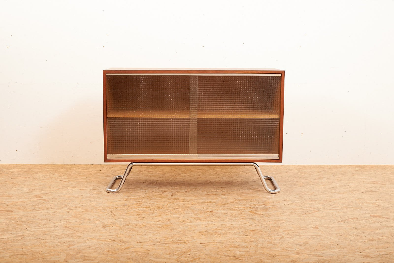 Sideboard With Wired Glass Sliding Doors 1950s For Sale At Pamono