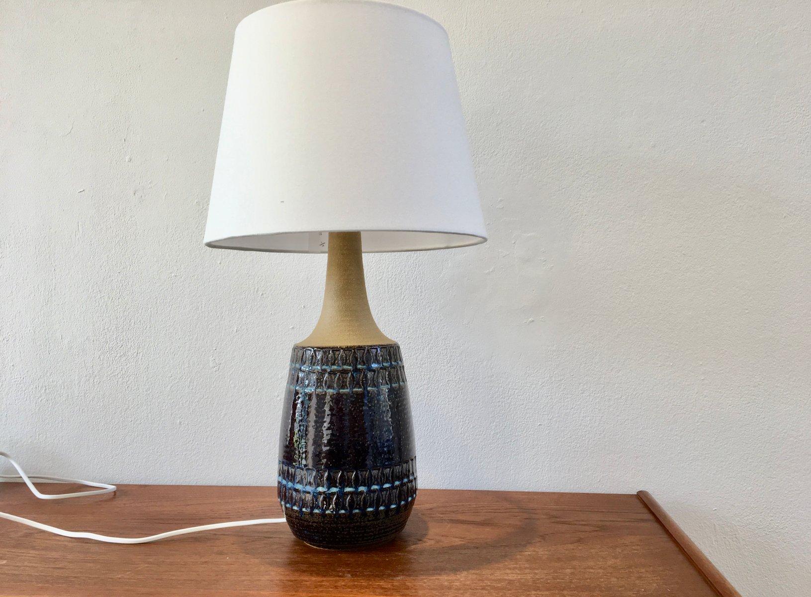 Große dänische Vintage Keramik Lampe in Blau mit geometrischem Muster ...