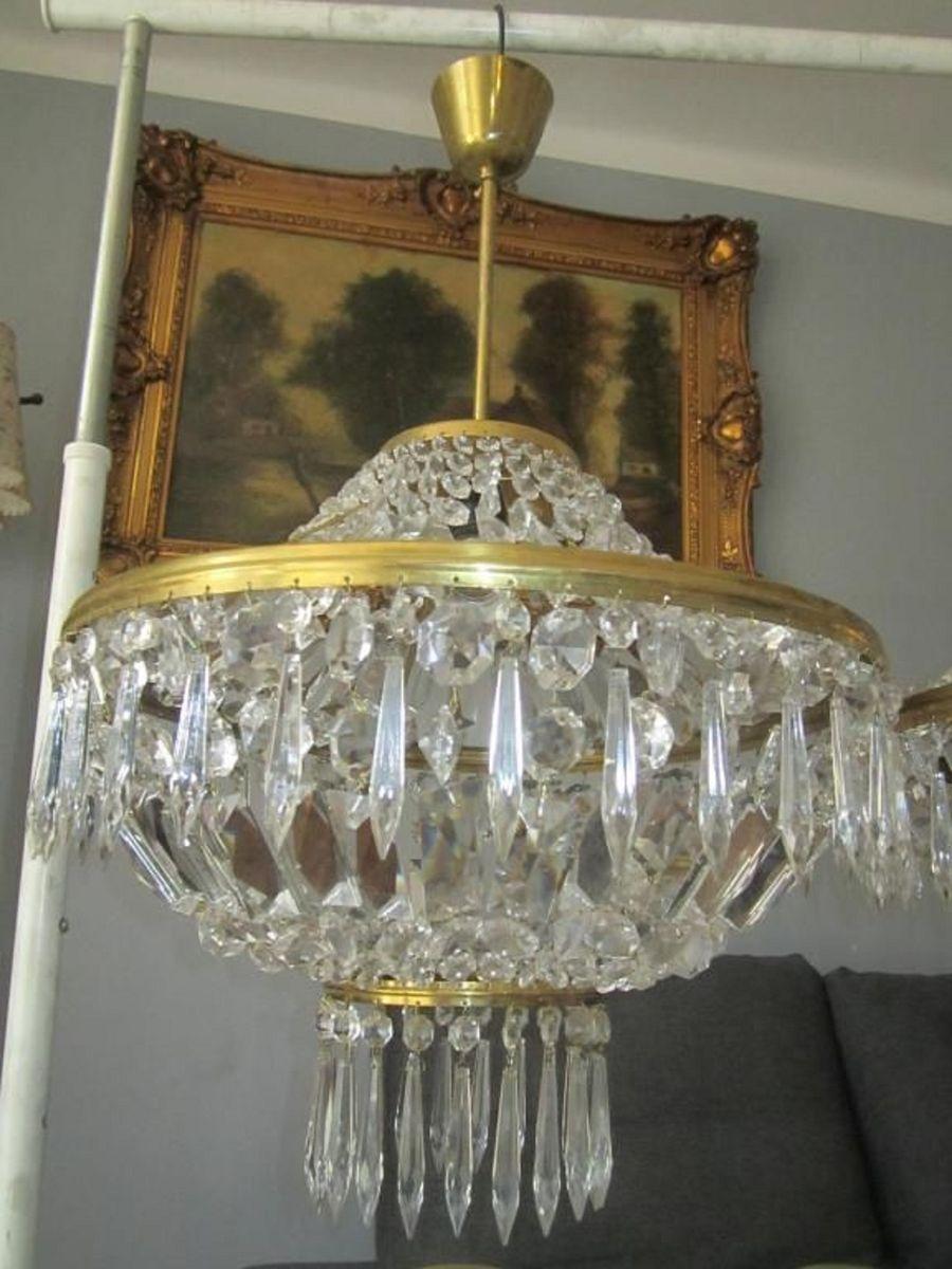 Messing Kronleuchter aus Kristallglas, 1970er