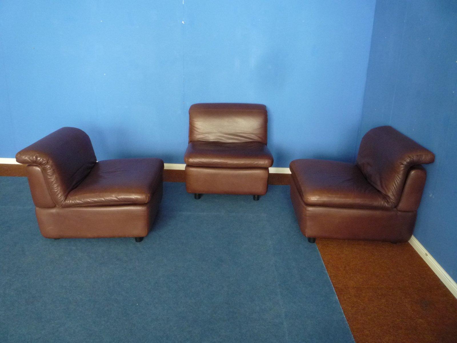 Modulares Leder 3-Sitzer Sofa von Rolf Benz, 1970er