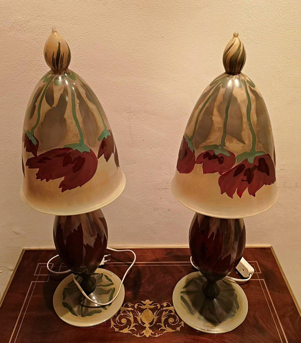 Handbemalte vintage glas tischlampen von vera walther 2er for Tischlampen vintage