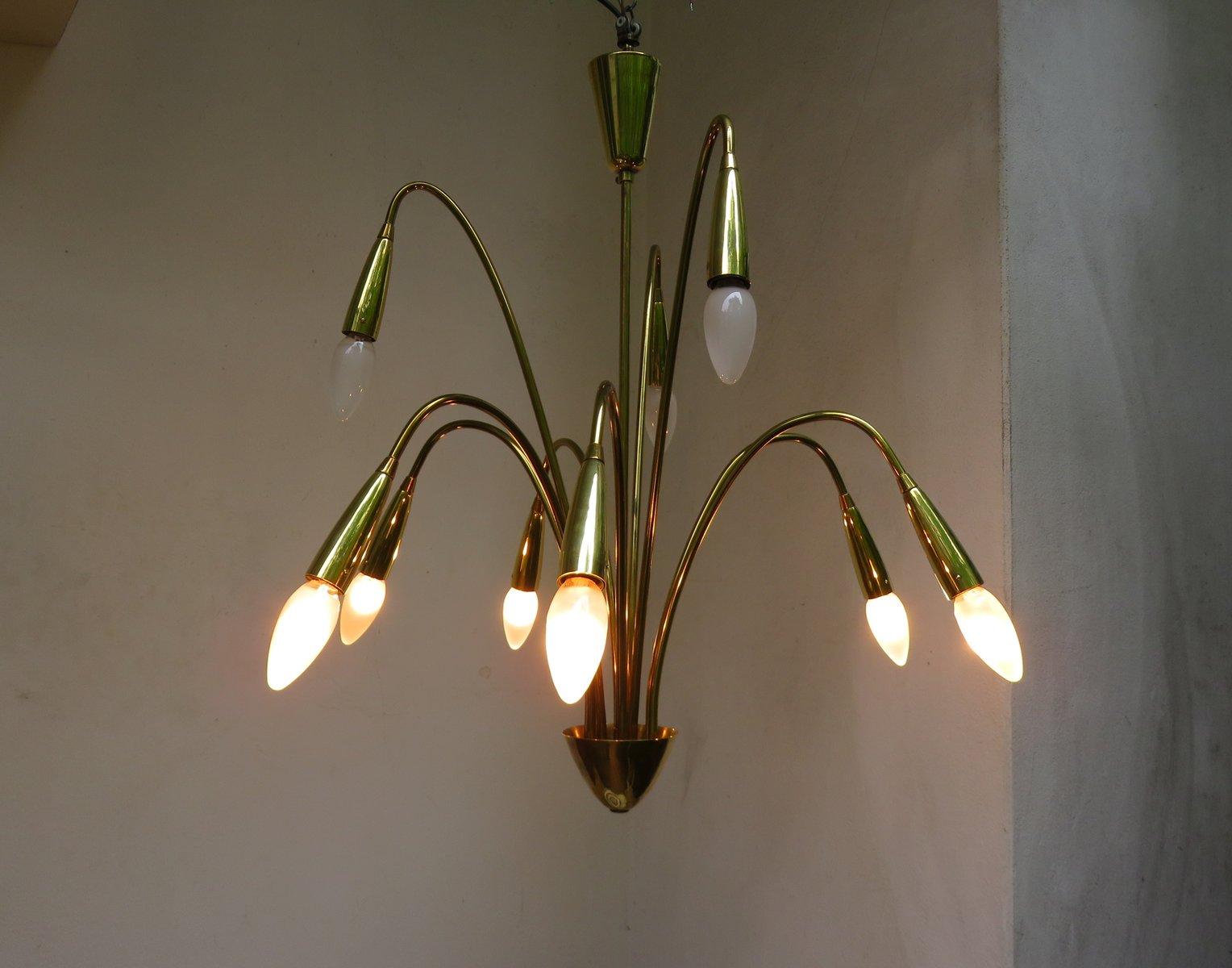Lampadario Bianco Opaco : Lampadario a luci in ottone lucidato e opaco anni in