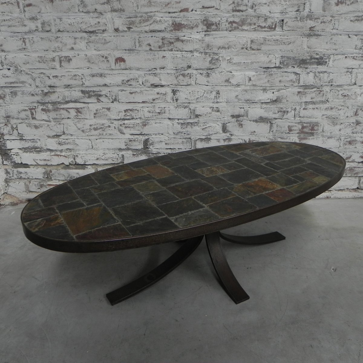 Slate And Glass Coffee Table For Sale: Vintage Coffee Table With Slate Top For Sale At Pamono