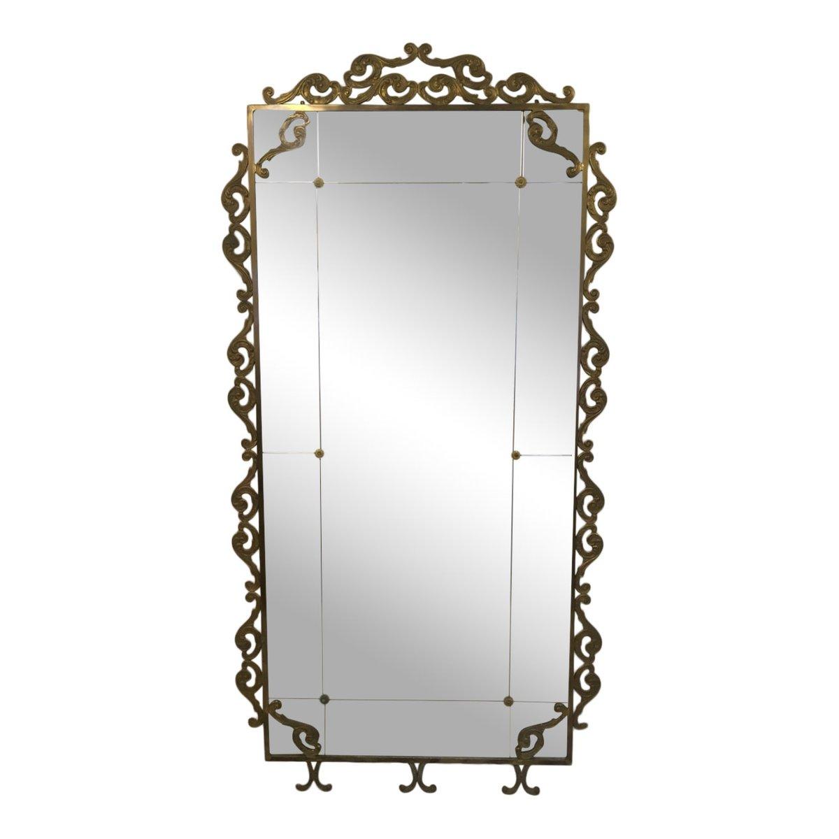 Large Vintage Italian Brass Floor Standing Mirror
