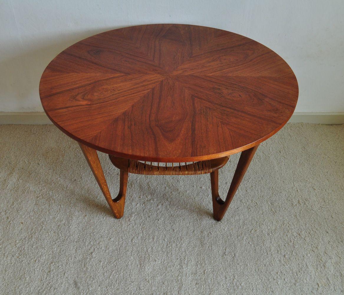 table basse mid century avec tag re en osier par kurt stervig en vente sur pamono. Black Bedroom Furniture Sets. Home Design Ideas
