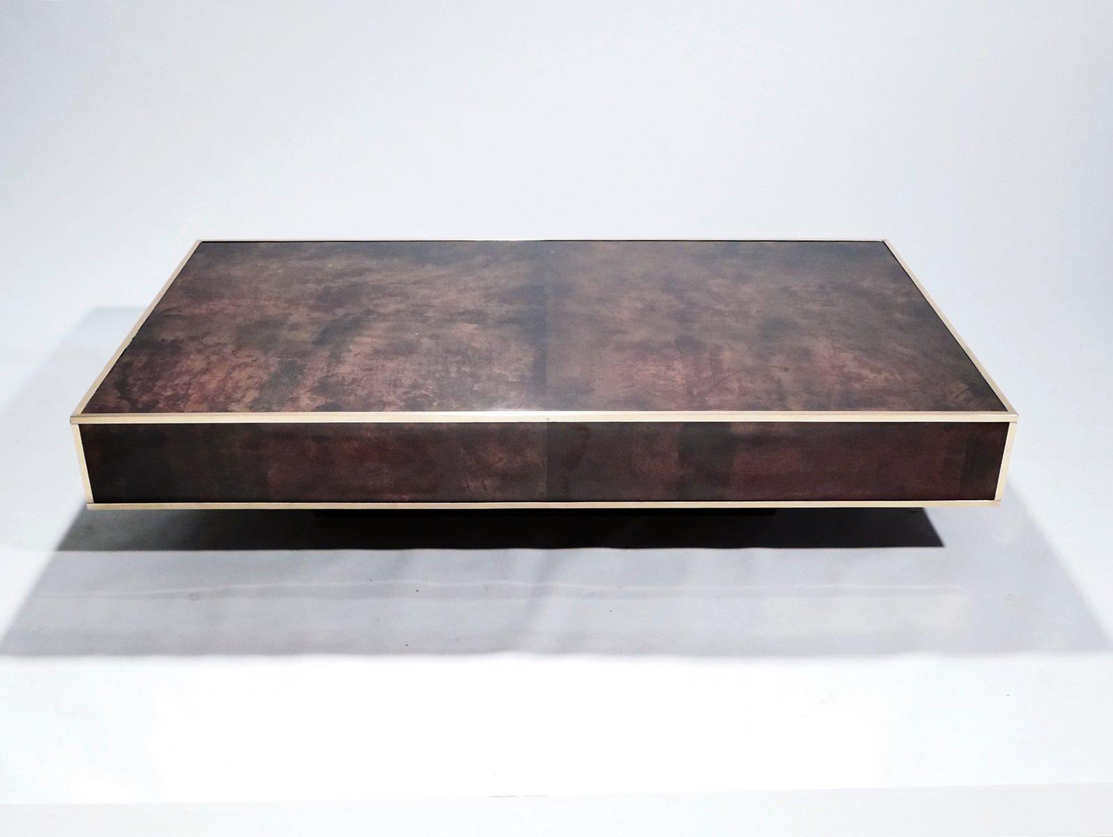 Großer Pergament und Messing Couchtisch von Aldo Tura, 1960er