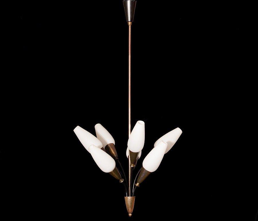 Messing Tulip Kronleuchter von Stilnovo, 1950er
