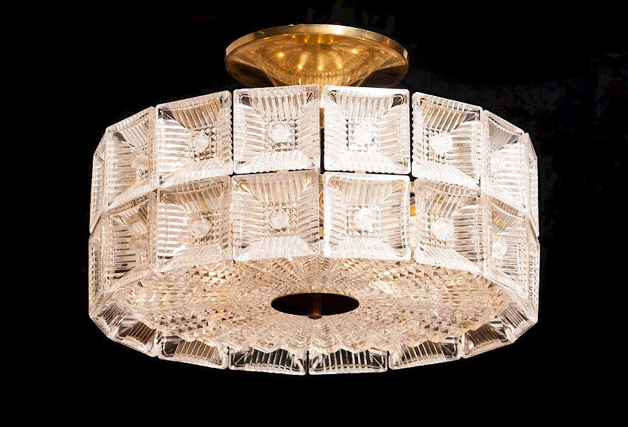 Große Kristallglas Deckenlampe von Carl Fagerlund für Orrefors, 1960er