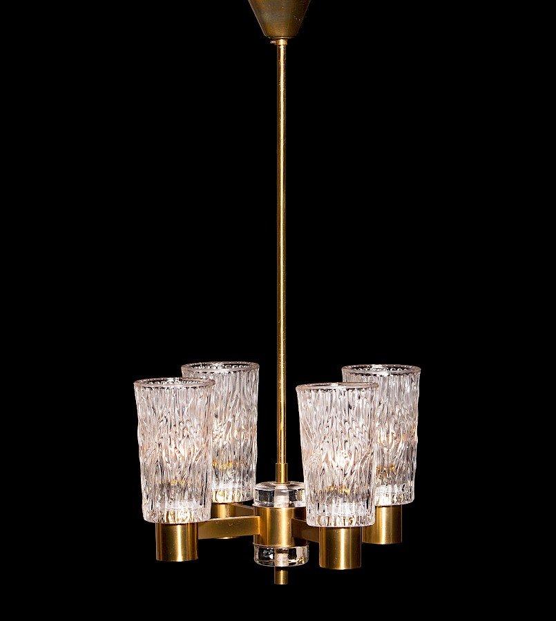 Kristallglas Kronleuchter von Carl Fagerlund für Orrefors, 1950er
