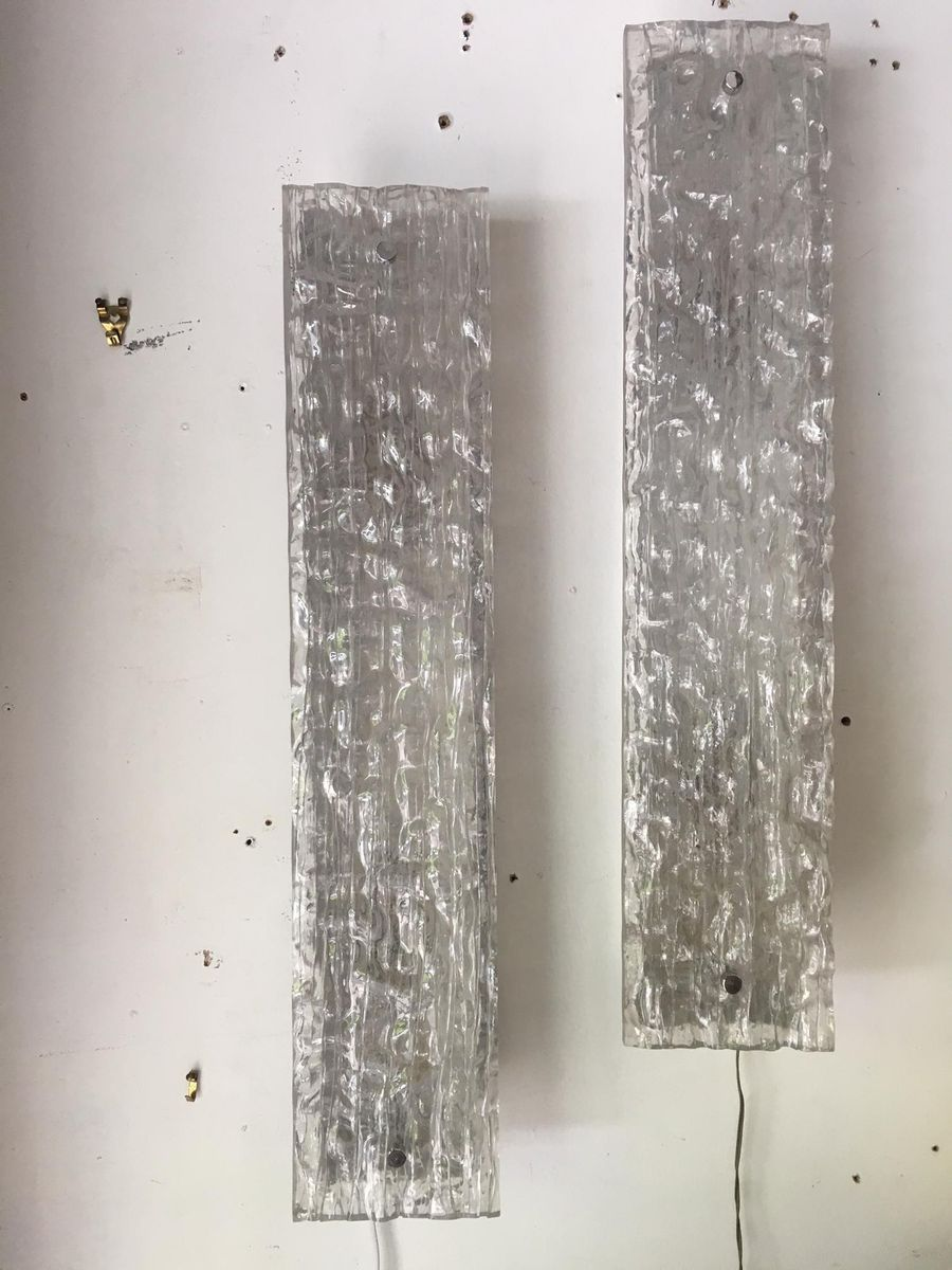 Wandleuchten aus vernickeltem Metall & Glas, 1960er, 2er Set