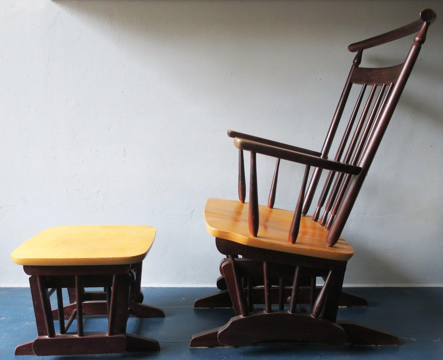 Vintage Sessel und Fußhocker, 1960er