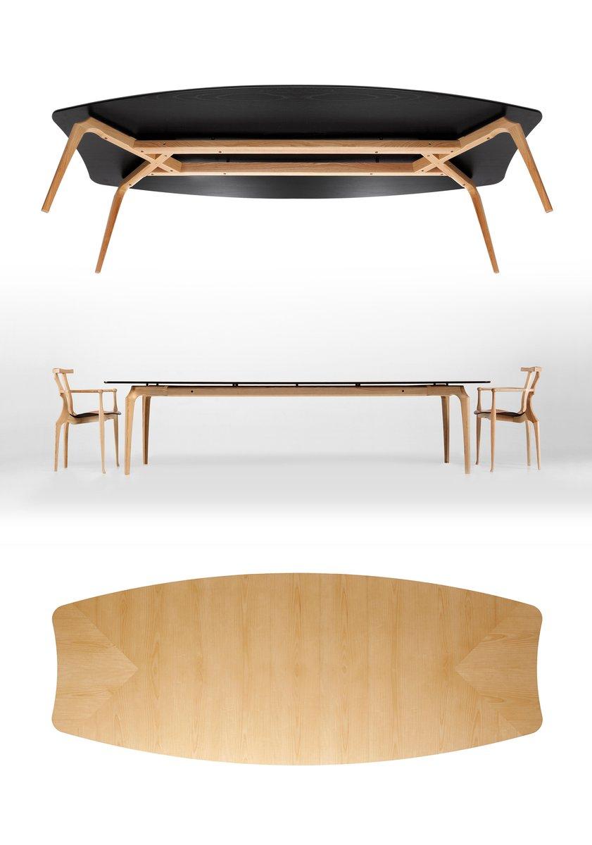 table gaulino avec plateau en bois et pieds naturels 300 cm par oscar tusquets blanca pour bd. Black Bedroom Furniture Sets. Home Design Ideas