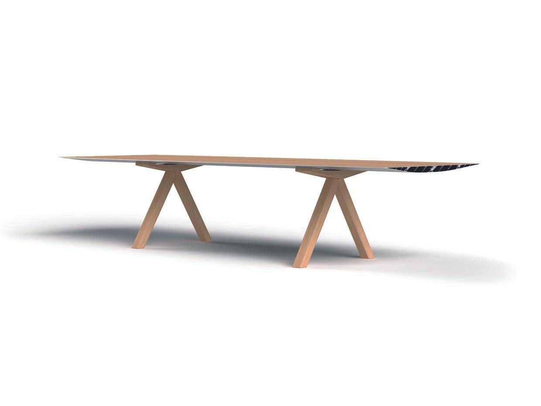 Table B mit Eichenholz Platte in 360 cm & Holzbeinen von Konstantin Gr...