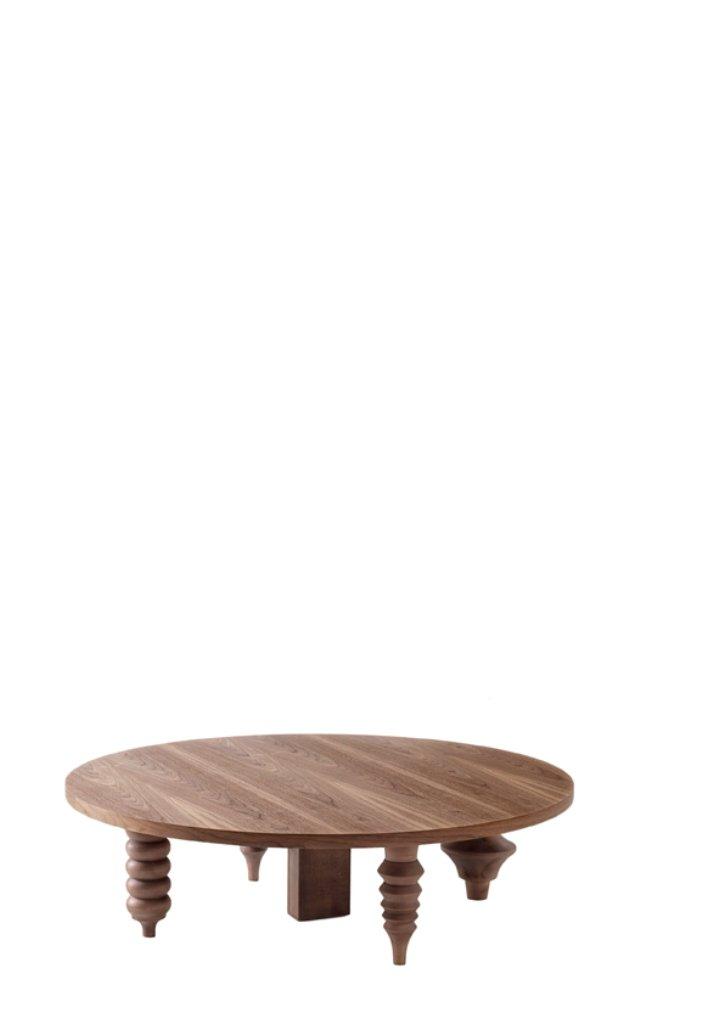Mehrbeiniger niedriger Tisch mit runder Ø 80 Tischplatte aus Holz von ...